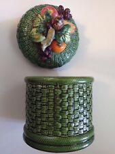BEAUTIFUL Vintage Large Cookie Jar in Basket Weave Green with Colorful Fruit Top