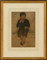 Framed Mid 19th Century Watercolour - Young Boy Sitting on a Wall