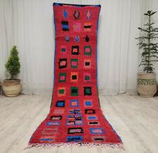 Handmade Vintage Moroccan Runner Rug 2'6x10'4 Berber Geometric Red Pink Wool Rug
