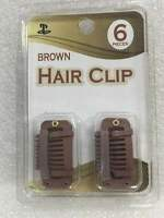 NO SEWING OR GLUE NEEDED BROWN SNAP CLIPS FOR HAIR EXTENSION 6 CLIPS/PACK