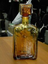 "Amber Empoli Glass Decanter / Genie Bottle 10 1/8"" Tall  Italian Vintage Murano"
