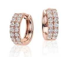 Pave 0.75 TCW Round Brilliant Cut Diamonds Two Row Hoop Earrings In 750 18K Gold