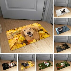 Cute Pets Dog Flannel Anti-Slip Rug Kitchen Bath Bathroom Shower Floor Door Mat