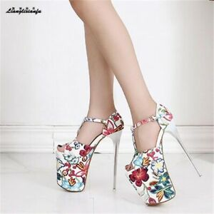 ❤️Sexy White Floral T Bar Extreme 8 Inch Platform Stiletto High Heels EU42 UK8
