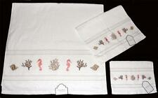 3 KASSAFINA Embroidered SEAHORSES SHELLS CORAL Towel Set Bath Hand Fingertip NWT