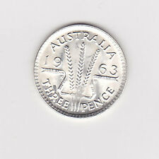 1963 (UNC) AUSTRALIAN THREEPENCE (50% SILVER) - BRILLIANT COIN FROM MINT ROLL