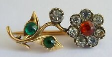 Flower Lace Pin Brooch Georgian 10ct Gold and Paste