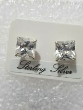 Fine Diamond Stud Earring Large Square Stone 925 Solid Sterling Silver Jewellery