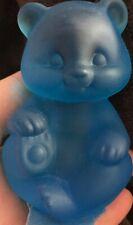 FENTON Glass Sitting Bear - Blue satin- (RR)