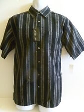 NEW Men's VAN HEUSEN Black Gray Olive Casual Dress Shirt size SMALL seersucker