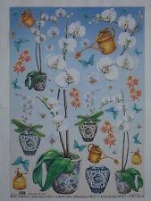 papier pour découpage technique serviette (thème:orchidées en pot) 68X48cm