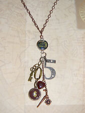Steampunk Necklace Vintage Style Charms 5 $ Key, One of a Kind
