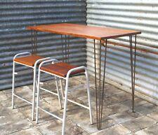 Reclaimed Wood Table / Desk ( Iroko Hardwood ex Science Lab) Pin Legs - High