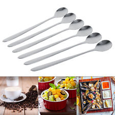 6X Stainless Steel Long Handle Sundae Coffee Soup Spoon Teaspoons Dining Home ZY