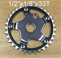 "NEW Bicycle Sprocket 33T 1/2""x1/8 Black Chrome Chainring BMX  Bike"