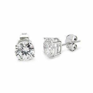 Sterling Silver Diamonique CZ Basket Round Stud Earrings in All Carat Sizes 925