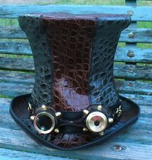 CROC PRINT LEATHER TALL WATERWORLD STEAMPUNK TOP HAT / VINTAGE AVIATOR GOGGLES