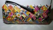 Nahui Ollin Candy Clutch Wristlet Floral Wrapper Zip  Purse Handmade Clean VGUC