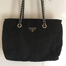 PRADA Tessuto Nylon Shoulder Bag W Silver Chain Strap (Vintage & Authenticated)