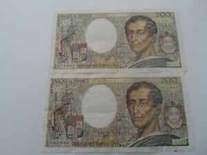lot de 2 billets 200 francs montesquieu 1992 j.127/m.111