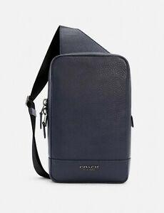 NWT Coach C4133 Turner Pack Pebble Leather Bag ~ Midnight Jewel Blue
