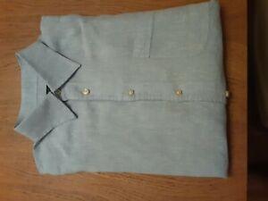 Canali linen short sleeve shirt XL
