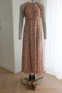 Massimo Dutti Seiden Maxi Kleid Sommer  Blumen Print Gr 40