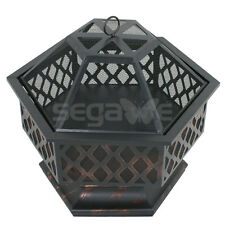New Fire Pit Bowl Outdoor Backyard Deck Wood Burning Fireplace Steel Cover Patio