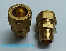 """2 X Male Flexi to Copper Pipe 15mm x 3/8"""" Tap Adapter for Monobloc Taps (Pair)"""