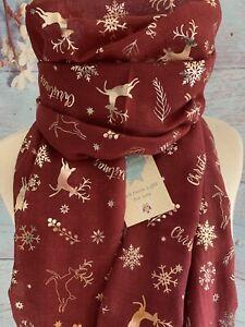 DASHING REINDEER & SNOWFLAKE CHRISTMAS SCARF RED SECRET SANTA MUM MAM JUMPER