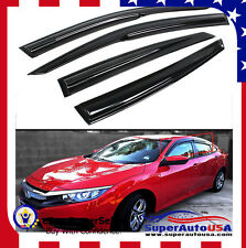 JDM MUGEN WAVY STYLE SMOKE WINDOW VISOR FOR 2016-17 10TH HONDA CIVIC 4DR SEDAN