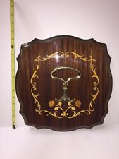 Vintage Italy Florentine Marquetry Inlaid Wood Wall Hook Brass Double Hook Rack