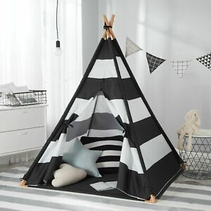 Kids Teepee Tent Classic Wide Stripe Play Tent with Carry Bag Black & White