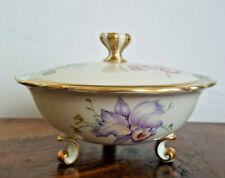 Porzellan Prunk Deckeldose - Bonboniere - Zeh Scherzer - Bavaria Blumen Gold