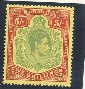 BERMUDA SG118a THE 1939  GVI 5/- PALE  GREEN & RED YELLOW FINE MM CAT £350