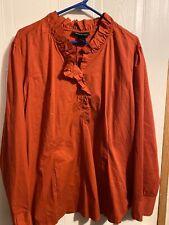 Ashley Stewart Women's 22 Orange Blouse Long Sleeve Top Blouse