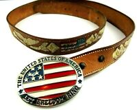 Vintage Tooled Painted Leather Western Belt Size 40 USA Eagle w/ Flag Buckle