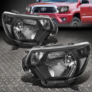 FOR 12-15 TOYOTA TACOMA BLACK HOUSING CLEAR CORNER HEADLIGHT REPLACEMENT LAMPS
