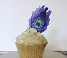 Edible Purple Peacock Feathers, Wafer Paper Cake and Cupcake Decorations