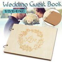 40 Pages Wedding Guest Book Wooden Engagement Guestbook Album Party Decor Love