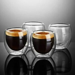 Ecooe Set of 4 Strong Clear Glass Double Wall Coffee Mug Tea Espresso Cup 100 ML