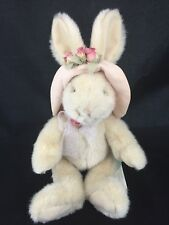 Russ Berrie BONNET Bunny Rabbit Plush Tan Hat Flowers Pink Bow Easter Stuffed