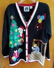 Storybook Knits Christmas Sweater Size Large Black Ugly Funny Santa Teacher Joke