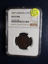 1879 Great Britain Half Penny NGC AU55 BN 1/2P Coin BUY IT NOW!
