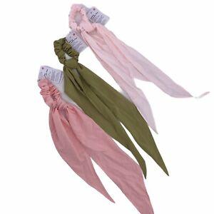 Lululemon Uplifting Flow Chouchou Scrunchie Bow Hair Band Lot Of 3 Pink Green