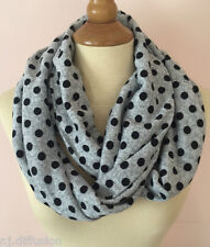 ECHARPE TUBE SNOOD GRIS CHINE A POIS NOIR