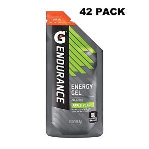 Gatorade Endurance Energy Gel Apple Pear 42 Pack 1.3 oz Pouches Exp 9/19/2020