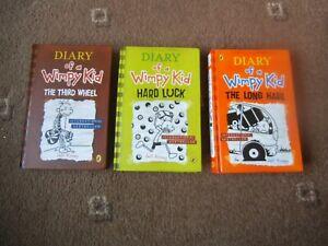 DIARY OF A WIMPY KID 3 x HB Book JEFF KINNEY VGC Long Haul, Third Wheel & Hard
