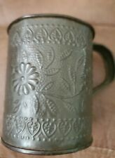 Vintage Tin Cup Embossed With Floral Design
