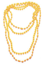 Ladies Neon Orange / Clear Beaded Statement  Hippy Festival Necklace(Zx63)